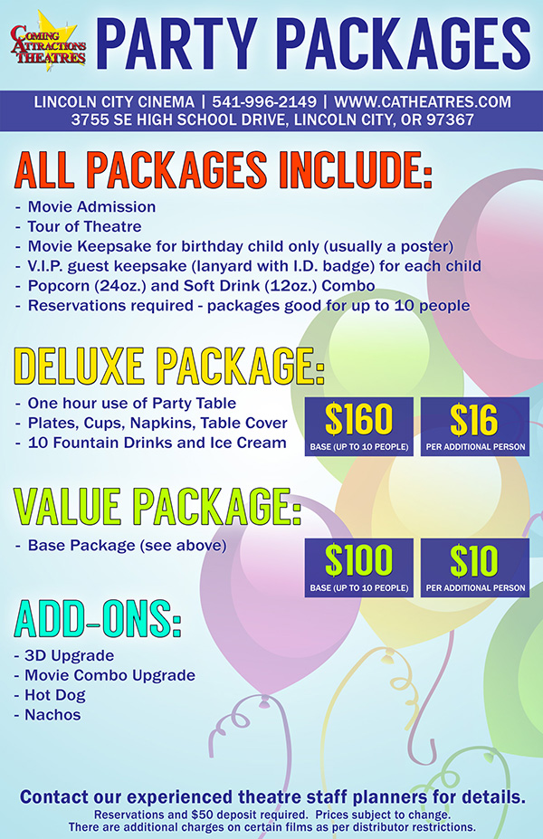 Party Package Lincoln City Cinema