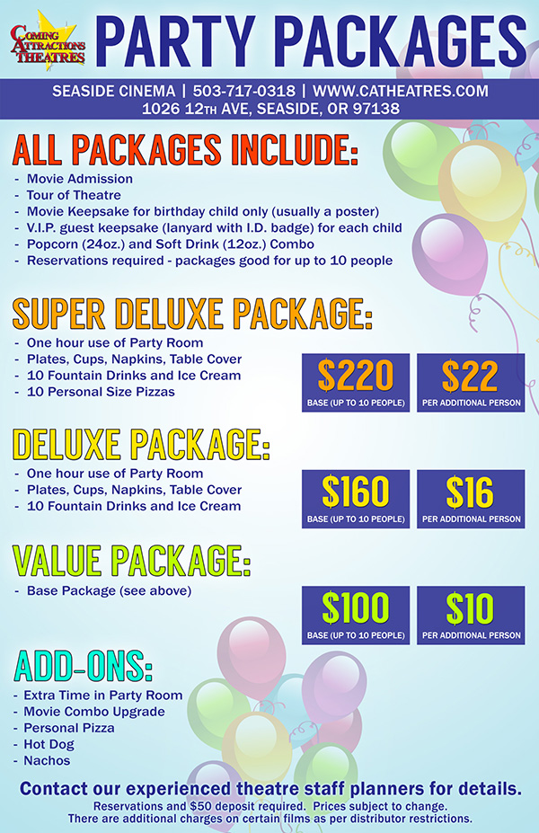 Party Package Seaside Cinema