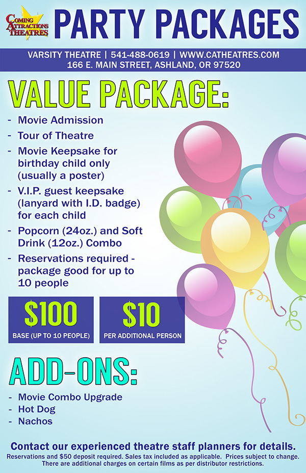 Party Package Varsity Theatre